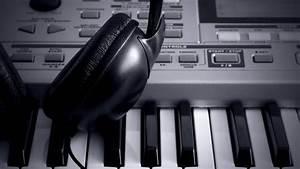 DJ headphones synthesizer mixer keyboard piano music tech ...