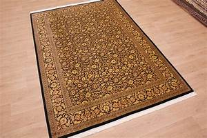 Teppich Schwarz Gold : perserteppich gom reine seide 298x200 cm schwarz gold ~ Whattoseeinmadrid.com Haus und Dekorationen