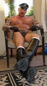 Gay men wearing leather