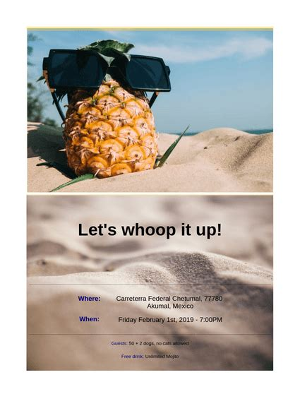 Beach Party Invitation TemplateTemplates JotForm