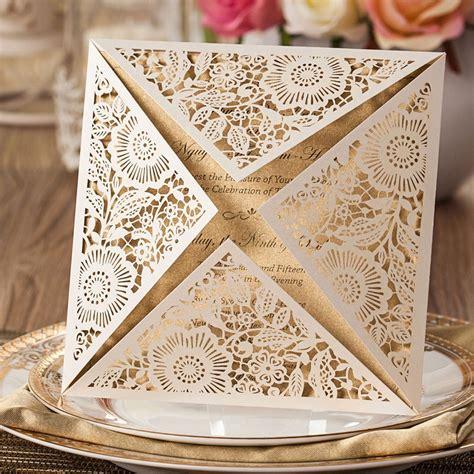 Wishmade 100x White Square Laser Cut Wedding Invitations