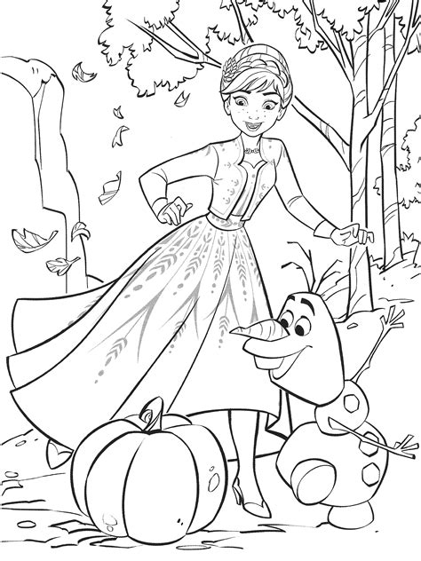 Раскраска Холодное Сердце 2 с Анной Олафом и тыквой