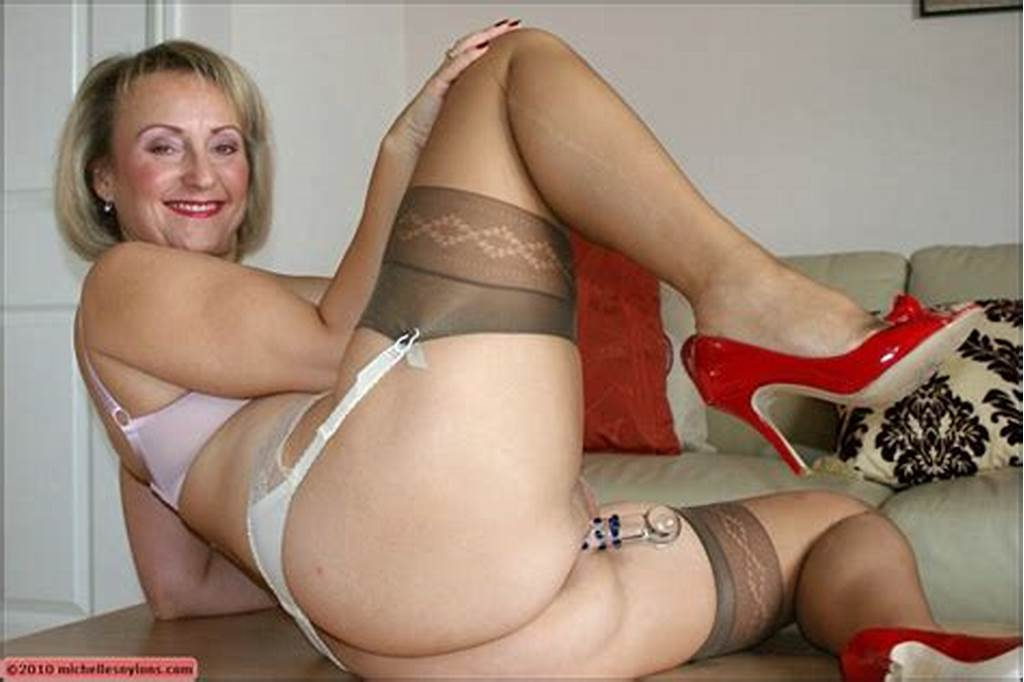 #Plumper #Mom #In #Stockings #Fondling #Her #Shaved #Pussy #And
