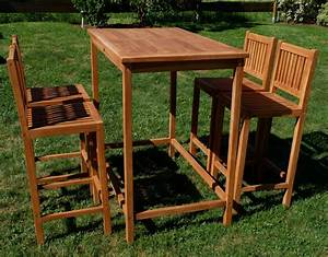 Bartisch Set Holz : xxl bar set teak bartisch bistrotisch stehtisch 120x70cm mit 4x barhocker holz modell jav ~ Indierocktalk.com Haus und Dekorationen